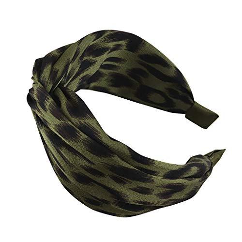 iCerber Haarband,Damen Stirnbänder Kopfwickel Haarband Bögen Leopard Zubehör Fliege Schleife Gestrickte Verdrehte Weiche Turban Kopf (Clip Opal Ohrringe Auf)