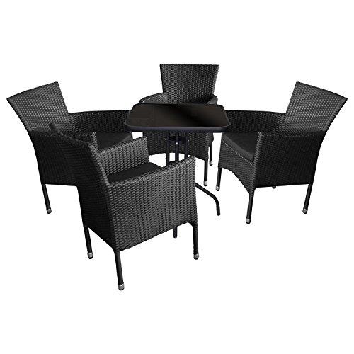 5tlg. Sitzgruppe Bistrogarnitur Balkonmöbel Terrassenmöbel Set Sitzgarnitur Gartengarnitur - Glastisch, Tischglasplatte schwarz undurchsichtig, 60x60cm + 4x Rattansessel, stapelbar inkl. Sitzpolster