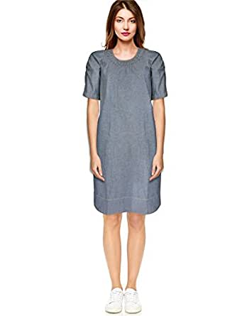 BEFORE AFTER BeforeAfter A-line Denim Chambray Cotton Dress with Epaulet Sleeve for Women Extra Small Size