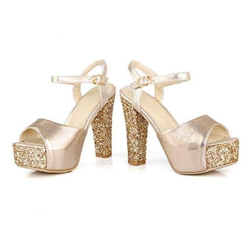 YE Frauen Peep Toe High Heels Plateau Blockabsatz Pailletten Knöchelriemen Sandalen Damen Sommerschuhe Gold