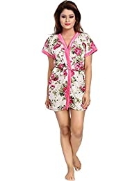 866008e3095c0a Tommy Vans Women Satin Babydoll Printed Robes V-Neck Nightwear Rob  Nightdress for Women Sexy