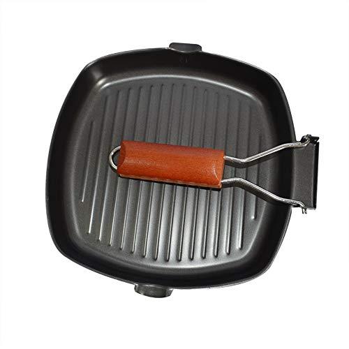 FRINGANP Bratpfanne Non-Stick Gebratenes Steak Fry Pan Bügeleisen Bratplatten Pfannen Faltbarer Griff Pfanne Kochen Tools Gas- Und Induktionsherd -