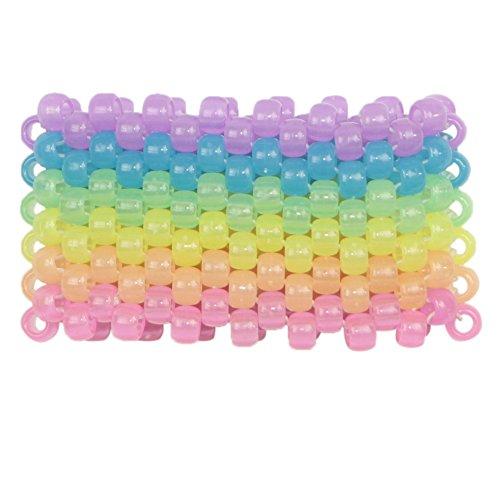 Glow in the Dark Horizontal Rainbow Kandi Cuff, kandi bracelet, beaded cuff, bead bracelet, for halloween music festivals and (Rainbow Morphsuit)