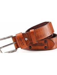 Ledergürtel mit PU mit Prägung und Applikationen, Breite 3,8 cm, unisex, leicht kürzbar