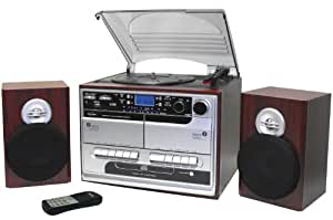 Inovalley Retro 07 USB Recordable 5-in-1 Music System, with 3 Speed Turntable (MP3 USB Turntable), CD Player, MW-FM Radio, Twin Cassette Player And Recorder (Tape to Tape Recording)