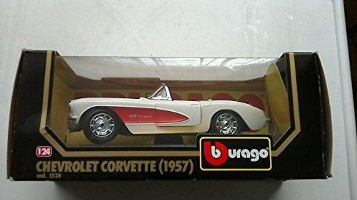 1957 Sitz (BURANGO Chevrolet Corvette 1957 Maßstab 1/24, Weiß mit Roten Sitzen)