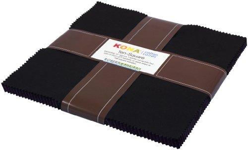 Robert Kaufman Kona Cotton (Robert Kaufman KONA COTTON SOLIDS BLACK 10 Fabric Squares 42 Piece Layer Cake TEN-144-42 by Robert Kaufman)
