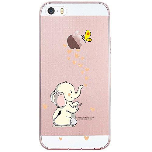 JIAXIUFEN iPhone 5 5S Hülle, Amüsant Wunderlich Design TPU Silikon Schutz Handy Hülle Case Tasche Cover Handyhülle für Apple iPhone 5 5S SE - Cute Elephant (Case Gel 5 Handy Iphone)