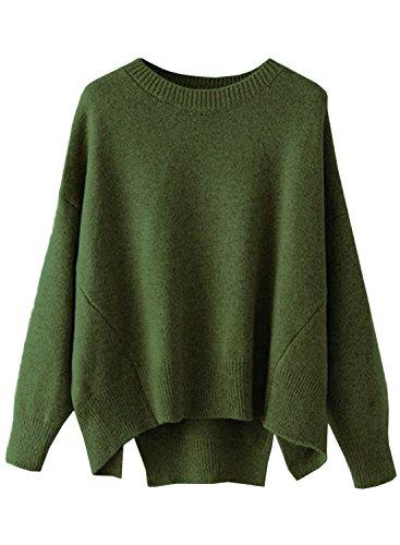 Futurino Damen Winter/Herbst Strickpullover Langarm Lose Oversize Basic Pullover
