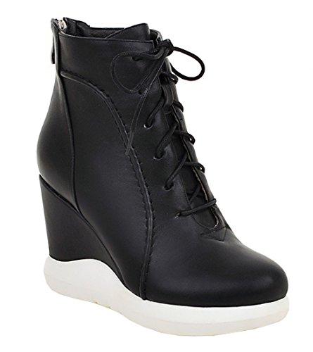 YE Damen Bequeme High Heels Plateau Stiefeletten mit Keilabsatz und Schnürung Reißverschluss Hinten 9cm Absatz Herbst Winter Ankle Boots Schuhe Schwarz