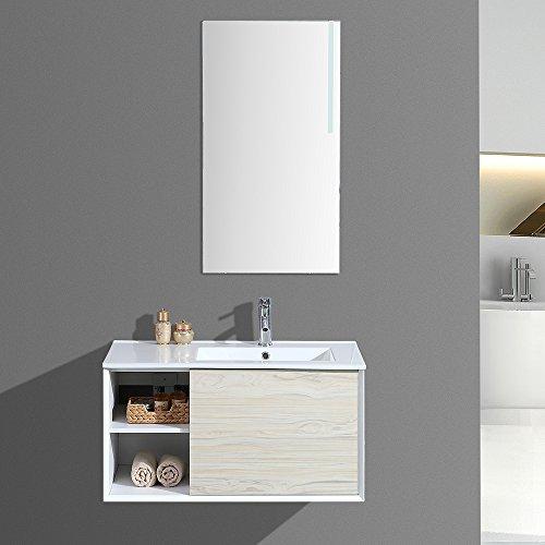 Interouge Meuble de Salle de Bain Simple Vasque avec Miroir LED - Bois Clair