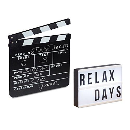 2 tlg. Film-Set, Light Box weiß, Filmklappe schwarz, LED Leuchtkasten mit 60 Zeichen, Regieklappe aus Holz, Leuchtschild