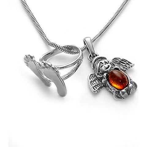 Nome per l' incisione gioielli per bambini piedini per battesimo anello con ambra–ciondolo angelo custode e serpenti–Catena in argento 925& regalo per battesimo Box #