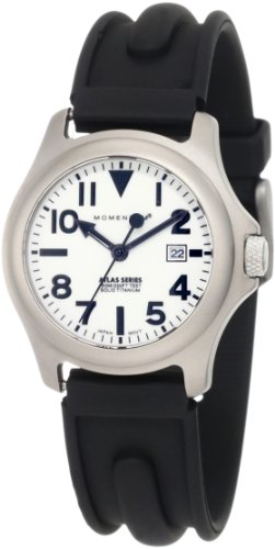 Momentum Ladies 1M-Sp01W1 Atlas White Dial Black Slk Rubber Watch
