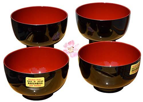 Ciotole per zuppa di miso senza coperchio, in colori tradizionali (rosso scuro e nero), 11cm di diametro, 4 pezzi