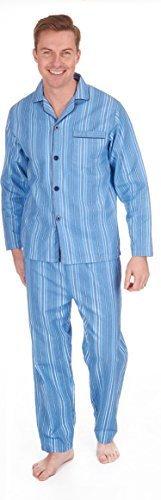 Herren Gebürstet Pure 100% Baumwollschlafanzug Winter Warm Flanell Thermo M L XL XXL - Blaue Streifen, XXX-Large (Streifen-pyjama-böden)
