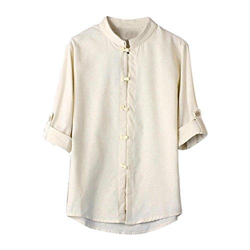 UJUNAOR Männer Klassischer chinesischer Stil Kung Fu Hemd Tops Tang-Anzug 3/4 Ärmel Leinen Bluse(EU XL/CN 2XL,Weiß)