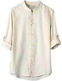 Damen Leinen Baumwolle Bluse-Oberteile V Ausschnitt Frosch Knopf 3//4 Hemd