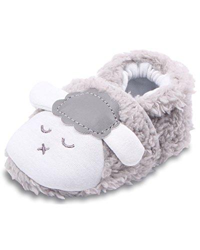 Minetom Baby Jungen Mädchen Krabbelschuhe Niedlich Lamm Booties Weiche Sohle Kleinkind Kinderschuhe Grau 13cm (Knit Stiefel Lammfell)
