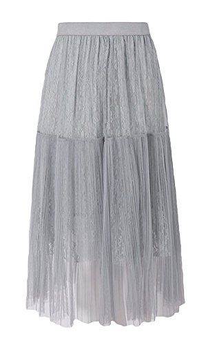 ezShe Women's Elastic Waist Pleated Plaid Lace Skirts