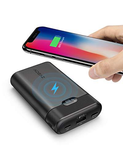 AIDEAZ Batería Externa 10000mAh Cargador portatil movil, Cargador inalámbrico y Entrega de energía 18W, Pantalla LCD, Extra Compacto para iPhoneX/XS/XS MAX/XR/8, Samsung Galaxy y Otros Dispositivos