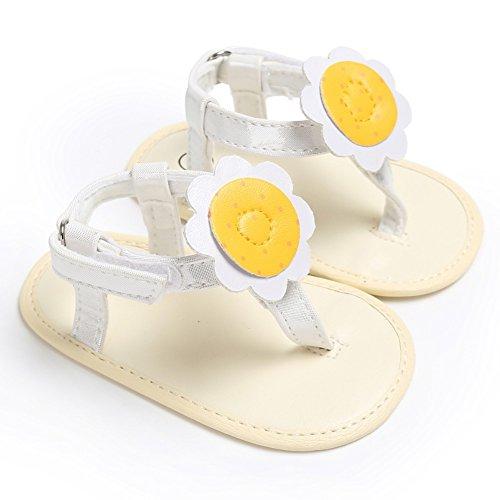 MiyaSudy Neugeborenes Baby Mädchen Schuhe Sonnenblume Flip Flops Weiche Alleinige Sommer Sandalen Weiß