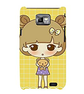 EPICCASE Teddy and Girl Mobile Back Case Cover For Samsung Galaxy S2 (Designer Case)