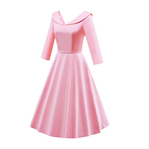 LUOUSE 40s 50s 60s Vintage 3/4-Arm V-Ausschnitt Schwingen Rockabilly Pinup Ballkleid Partei Kleid 3/4-Arm Rot