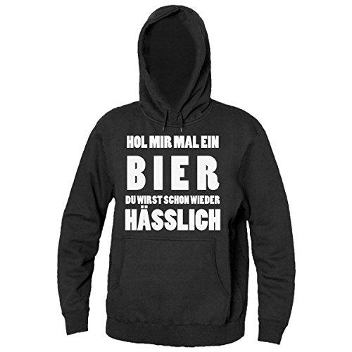 Hol Mir Mal Ein Bier Du Wirst Schon Wieder Hässlich Men's Hooded Sweatshirt Large (Wieder Hooded-sweatshirts)
