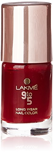 Lakme 9 To 5 Long Wear Nail Color, Red League, 9ml
