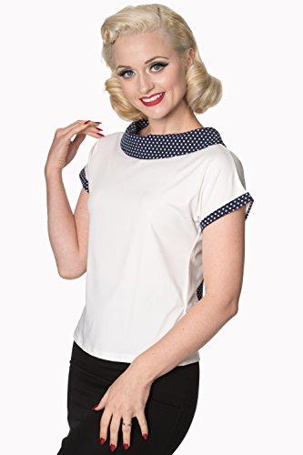Verbotene Alicia Womens Vintage Retro Top - Weiß oder Marine Weiß