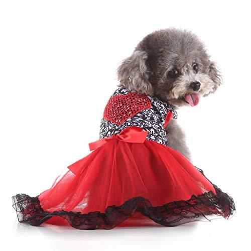 YWLINK Party Hochzeit Kleid Creative Sexy Spitze Patchwork Haustier Liebesherz Rock Haustier Hunde Elegant Bow KostüMe(Rot,S) -