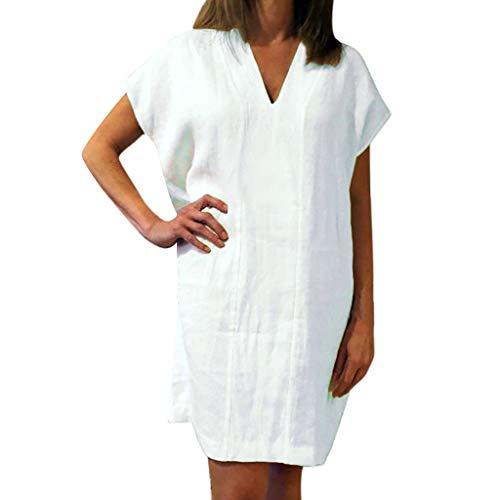 Yvelands Damen T-Shirt Kleid Lose Baumwolle und Leinen Solide Kurzarm V-Ausschnitt Minikleid(Weiß,S)