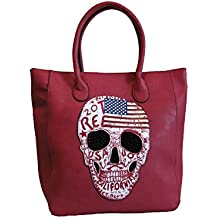 75c5e28c83311 Jn Gianni Shopper Handtasche mit USA Totenkopf Schultertasche Damen Tasche  Rot Skull Amerika Design