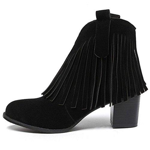 COOLCEPT Damen Fransen Stiefel Blockabsatz Hoch Stiefeletten Schwarz