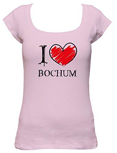 I love Bochum Fun Damen Boat Neck T-Shirt, Größe:XL;Farbe:rosa