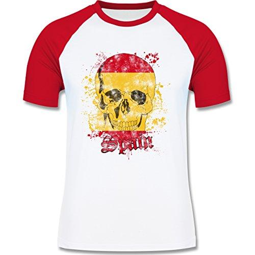 EM 2016 - Frankreich - Spain Schädel Vintage - zweifarbiges Baseballshirt für Männer Weiß/Rot