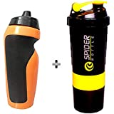 Spider Shaker Bottle And Penguin Sipper Bottle Combo Pack For Men |Women A Must Have Gym Combo Kit For Boy's Girl's Fitness By 5 O'clock Sports ®