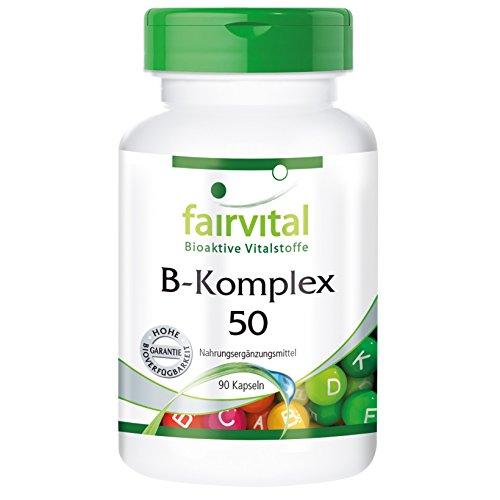 Fairvital - Complesso B 50 - 8 vitamine del gruppo B + colina e inositolo - 90 capsule