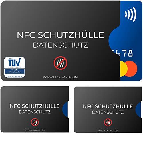 TÜV geprüfte NFC Schutzhülle (3 Stück) aus Kunststoff für Kreditkarte Personalausweis EC-Karte Bankkarte Ausweis - 100{0349b0b2b2e4261fadd3f314653f0d8f930c851779a7f5a08f2d43b4e5f96ce4} Schutz vor unerlaubtem Auslesen - Kreditkarten RFID Blocker Plastik Schutz-Hülle