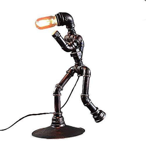 GRMV Wasserrohr-Schreibtischlampe, industrielle Retro- Bronzeeisen-Wasser-Rohr-Tabellen-Licht-Antike Steampunk 1-Licht Lampenschirm-Schreibtisch-Akzent Dimmable Lampen für Bettseite Lesesaal -