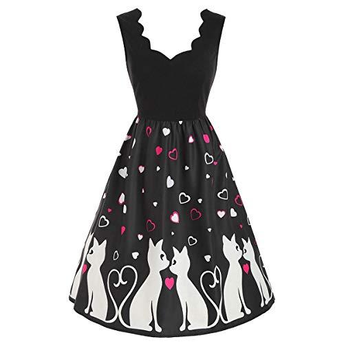 Dawwoti Valentine Katzen-Herz-Ärmelloses Kleid -