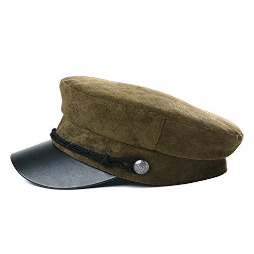 Wildleder Newsboy Cap Hat (FancetHat Winter Kunstleder Elbsegler mütze Damen Schiffermütze 56-59 cm Armygrün)