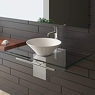 Alpenberger designer washbasin series 120, glass bathroom furniture, ceramic basin, clear glass top, hand basin, guest toilet