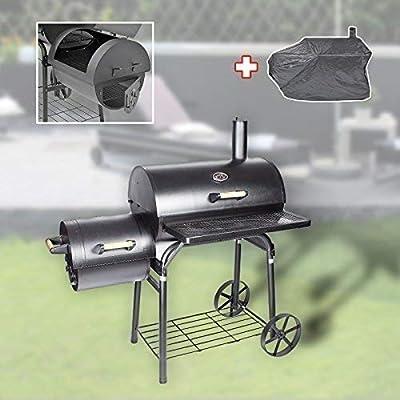 DRULINE XL Profi Smoker BBQ Grill Grillwagen Holzkohle 1,5mm Stahl Lokomotive + Haube
