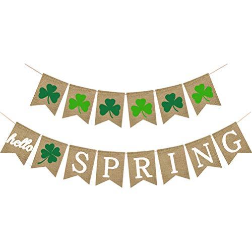 Amosfun St.Patrick Day Dekorationen Hallo Frühling Shamrock Sackleinen Banner Vierblättriges Kleeblatt Girlande 2 Stück