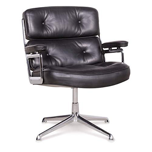 Vitra ES 108 Lobby Chair Designer Leder Premium Sessel Schwarz by Charles Eames Echtleder 1970ger Stuhl #7929 -