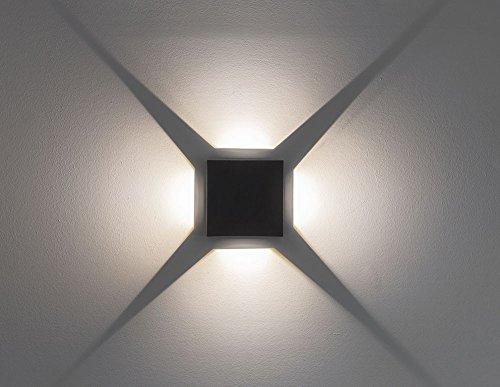 Applique murale, lumière d'effet, Beam 6, 4x3 W LED, angle de faisceau 0 - 90 degrés, gris foncé 10657