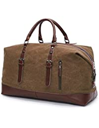 5d0f6b8978f4 Style Homez American Pure Leather Canvas Weekender Duffle Over Size Luggage  Bag