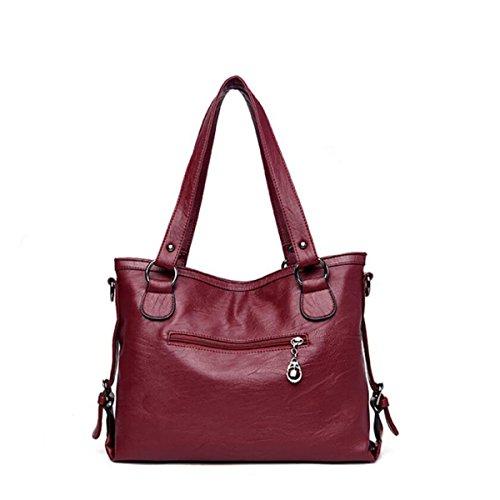 Lady Mode Tasche Große Kapazität Schultertasche Mode Freizeit Handtaschen Einfach Elegant Umhängetasche Messenger Red